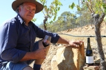 David Jones in a vineyard at Dalwhinnie Wines in Australia.